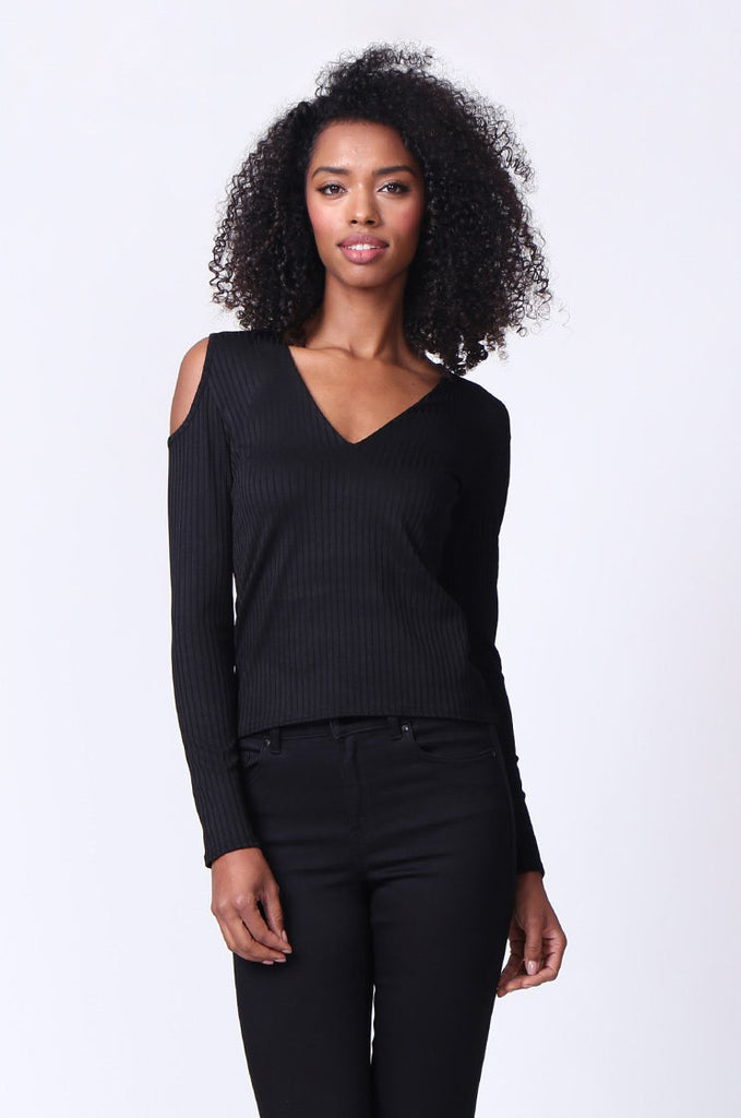 SMU0245-BLACK OPEN SHOULDER RIBBED LONG SLEEVE TOP view main view