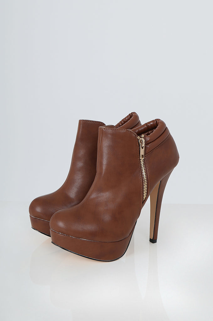 SES2228-TAN ZIP DETAIL HIGH HEEL SHOE BOOTS