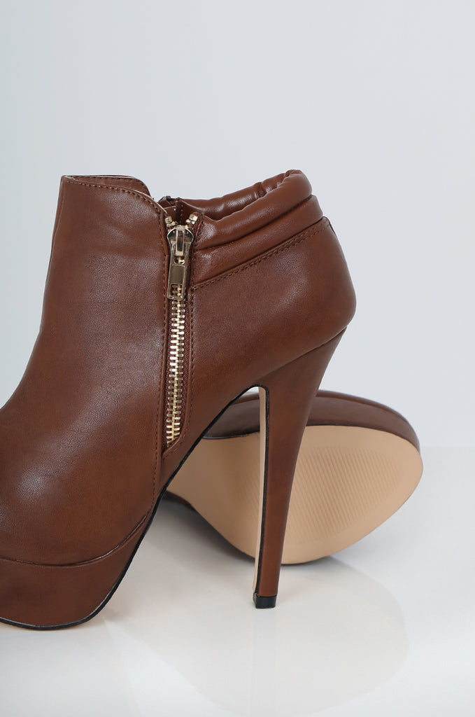 SES2228-TAN ZIP DETAIL HIGH HEEL SHOE BOOTS view 3
