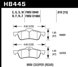 Hawk 02-06 Mini Cooper / Cooper S DTC-30 Rear Brake Pads