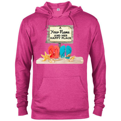 A (Your Name) and her happy place - Beach Hoodie-For Grandparents Only