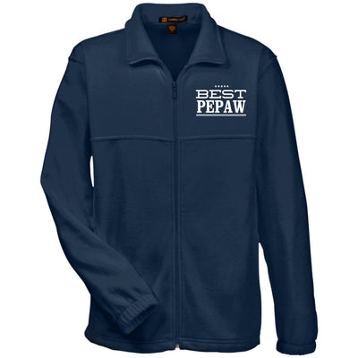 Best Pepaw - Harriton Men's Embroidered Fleece Jacket - Great gift for Pepaw-For Grandparents Only