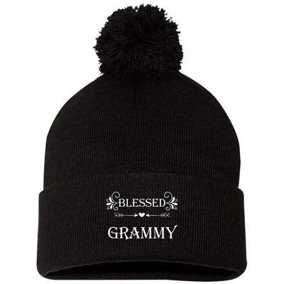 Blessed Grammy - Embroidered Pom Pom Knit Cap - Great gift for Grammy-For Grandparents Only
