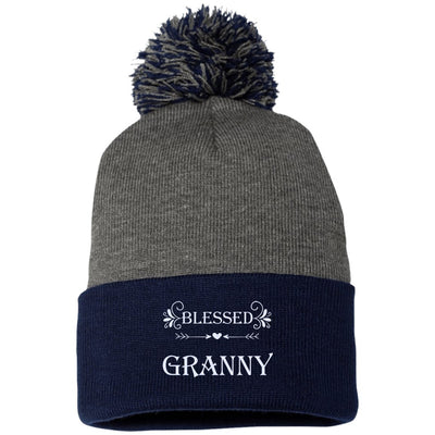 Blessed Granny - Embroidered Pom Pom Knit Cap - Great gift for Granny-For Grandparents Only