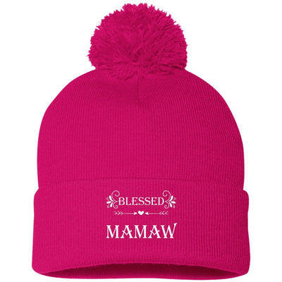 Blessed Mamaw - Embroidered Pom Pom Knit Cap - Great gift for Mamaw-For Grandparents Only