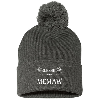 Blessed Memaw - Embroidered Pom Pom Knit Cap - Great gift for Memaw-For Grandparents Only