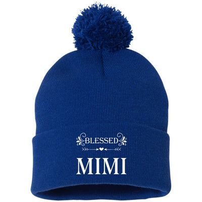 Blessed Mimi - Embroidered Pom Pom Knit Cap - Great gift for Mimi-For Grandparents Only
