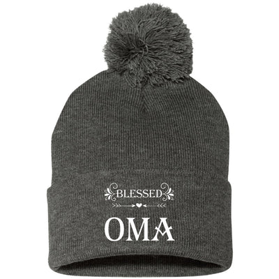 Blessed Oma - Embroidered Pom Pom Knit Cap - Great gift for Oma-For Grandparents Only