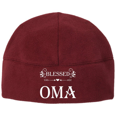 Blessed Oma - Port & Co. Embroidered Fleece Beanie - Great gift for Oma-For Grandparents Only