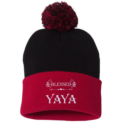 Blessed Yaya - Embroidered Pom Pom Knit Cap - Great gift for Yaya-For Grandparents Only
