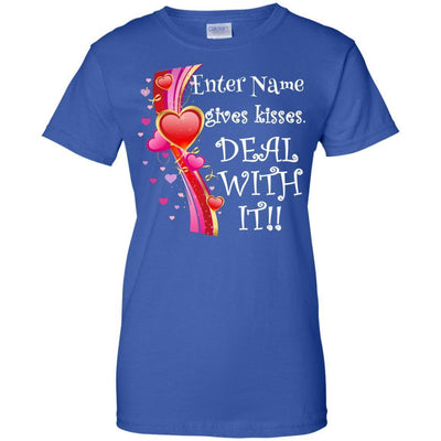 (Enter Name) gives kisses. Deal with it!! - Slim Fit Shirt-For Grandparents Only