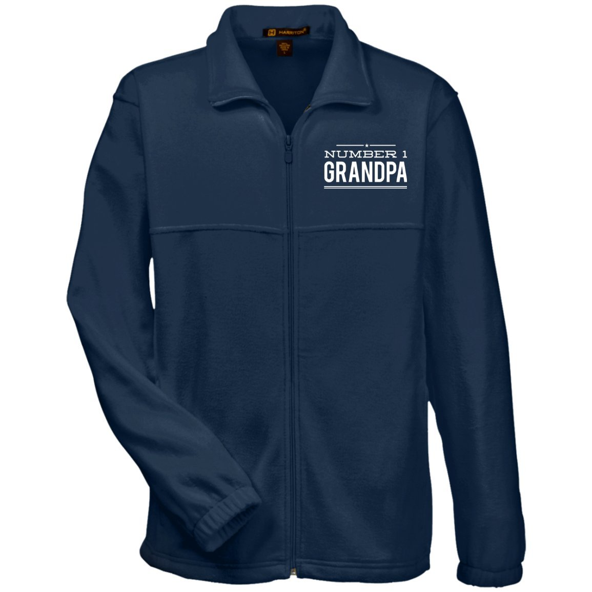 Number 1 Grandpa - Harriton Men's Embroidered Fleece Jacket - Great gift  for Grandpa-For