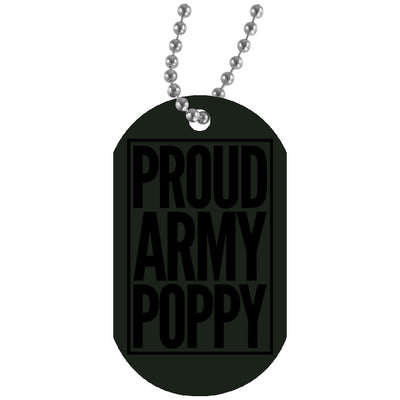 Proud Army Poppy - Dog tag and chain - Great gift for Poppy-For Grandparents Only