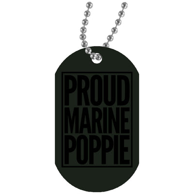 Proud Marine Poppie - Dog tag and chain - Great gift for Poppie-For Grandparents Only