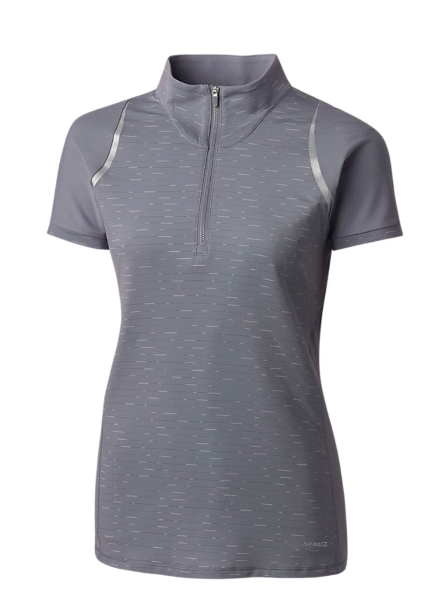 Annika Elite Short-Sleeve Mock Half Zip LAK00078 Zinc
