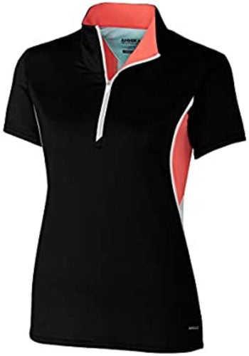 Annika Determine Contour Short Sleeve Mock Black/White/Sport Coral LAK00127