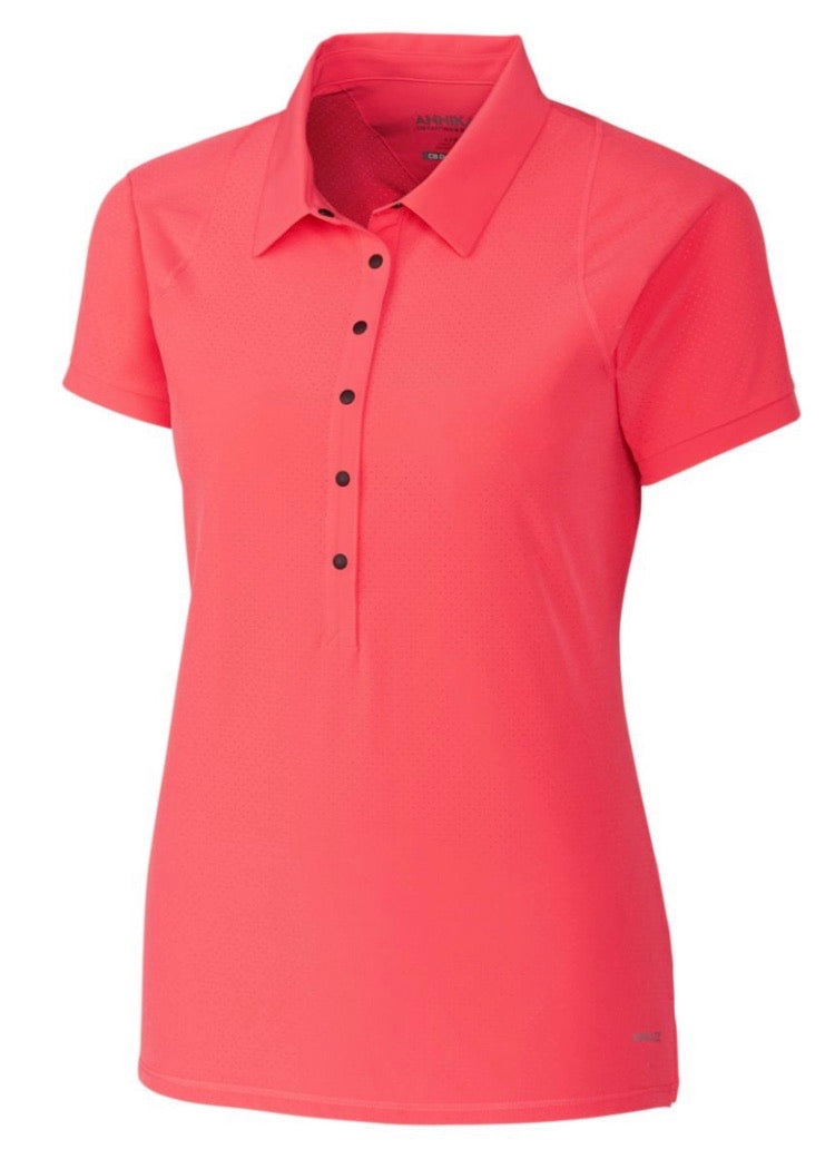 Annika Perforated Short Sleeve Polo Sport Coral LAW00001 MEDIUM