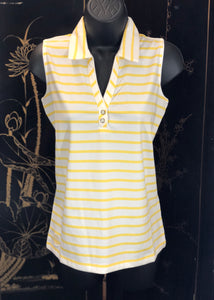 Kate Lord Whitman Sleeveless Jersey Bar Stripe Golf Polo BK04