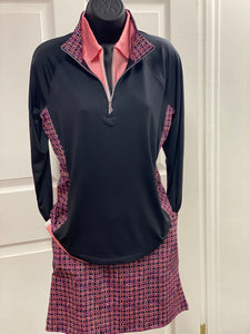 Kate Lord 1/4 Zip Pullover with Geometric Print KA12 Black