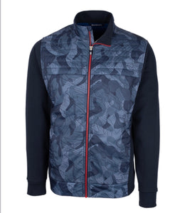 Cutter and Buck Men's Discovery Windblock Hybrid Print Jacket Size: Large
