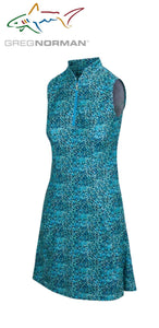 Greg Norman Tropicana Sleeveless Zip Flare Dress Coastal Seaglass G2S21K709 Size: Medium