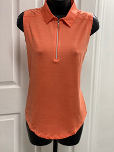 Kate Lord Essex Space Dye Sleeveless Polo KE04 Persimmon