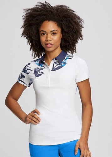Annika Circuit Print Color Block Golf Polo LAK00109 Atlantic/White
