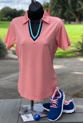 Kate Lord Golf Polo BR01 Conch with Teal and Navy Detail