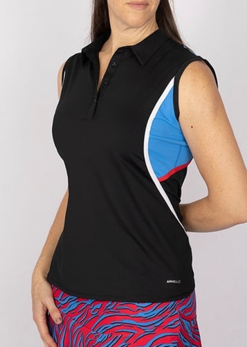 Annika Dimension Colorblock Sleeveless Polo LAK00141 MEDIUM Black