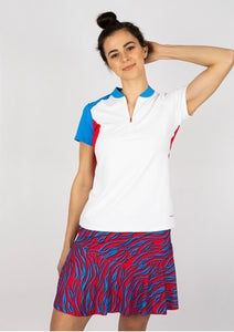Annika Crush Color Block Short Sleeve Half Zip LAK00148 White Medium