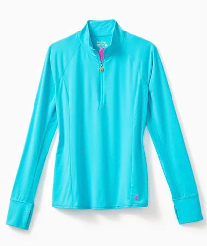 Lilly Pulitzer Marion Mesh Panel Half Zip Top - Sunguard Bermuda Blue Size: Large