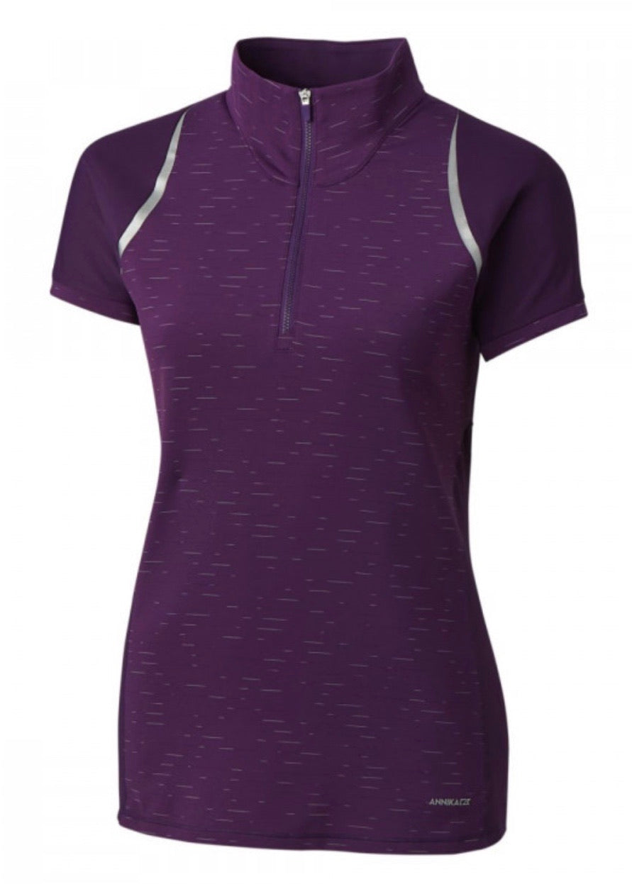 Annika Elite Short-Sleeve Mock Half Zip LAK00078 Impulse Purple