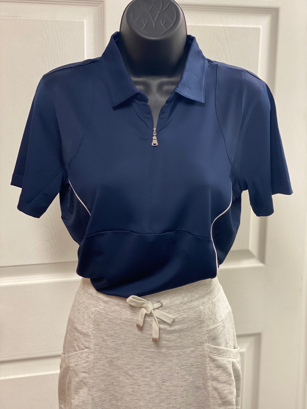 Kate Lord Solid with Mesh Golf Polo KC68 True Navy