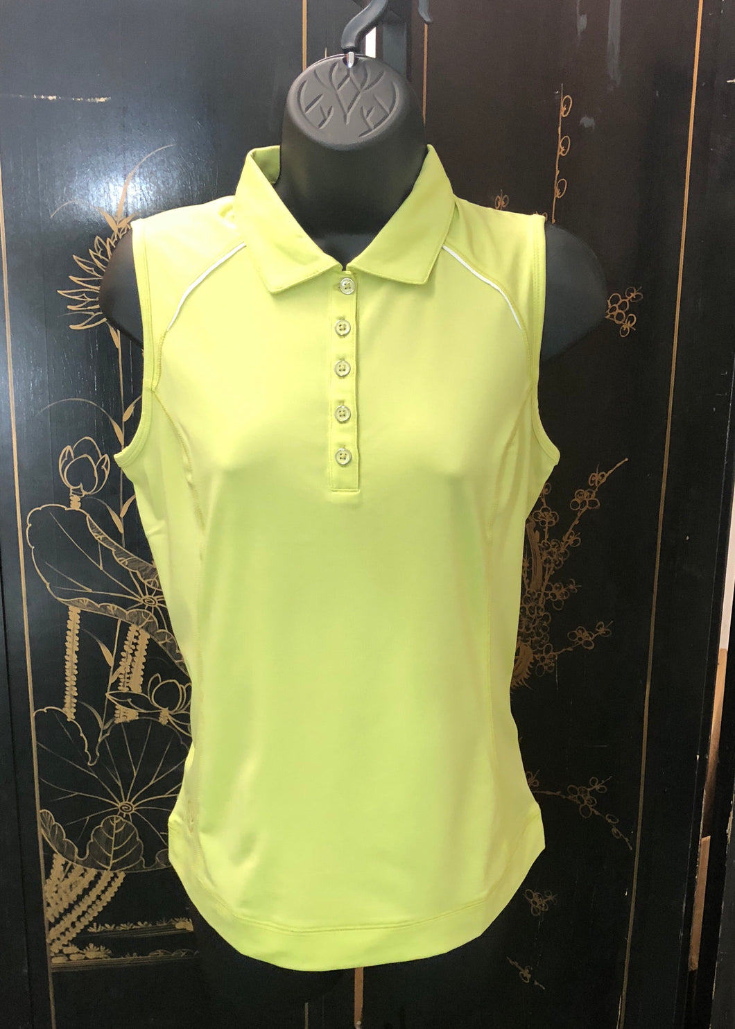 Kate Lord Hatley Sleeveless Princess Seam Golf Polo with Piping Keylime BK06
