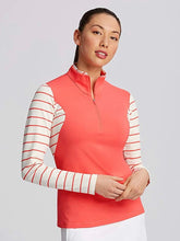Annika Sun-Up Stripe 1/2 Zip Long Sleeve LAK00126 Daylight/Sport Coral