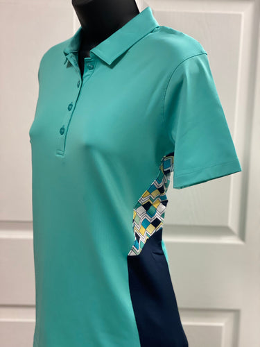 Kate Lord Pieced Print Colorblock Golf Polo KC69 Surf