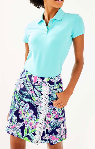 Lilly Pulitzer Meredith Luxletic Short Sleeve Polo Bali Blue 001473 Size: Small