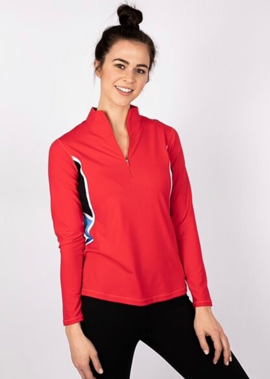Annika Dimension Colorblock Half Zip LAK00144 MEDIUM Wild Red