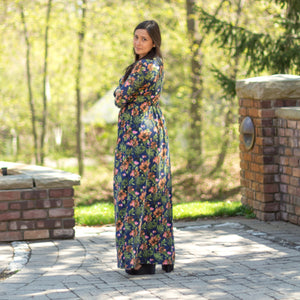 BLOWOUT Final Sale Havah Scallop Floral Maxi Dress in Navy Floral - Nursing Friendly Maxi with Snaps