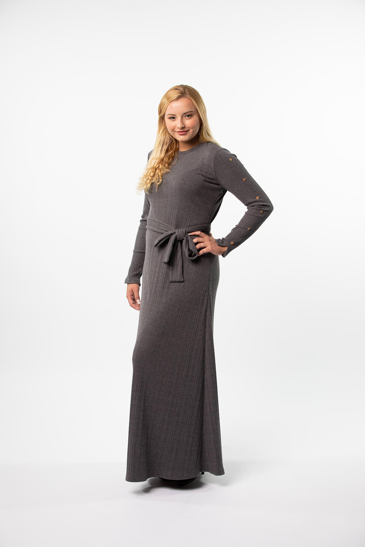 Ribbed Maxi Dress in Charcoal or Black with Gold Buttons