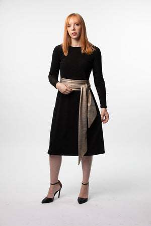 Black Shimmer Swing Dress with Gold Belt nursing friendly, maternity friendly and beyond