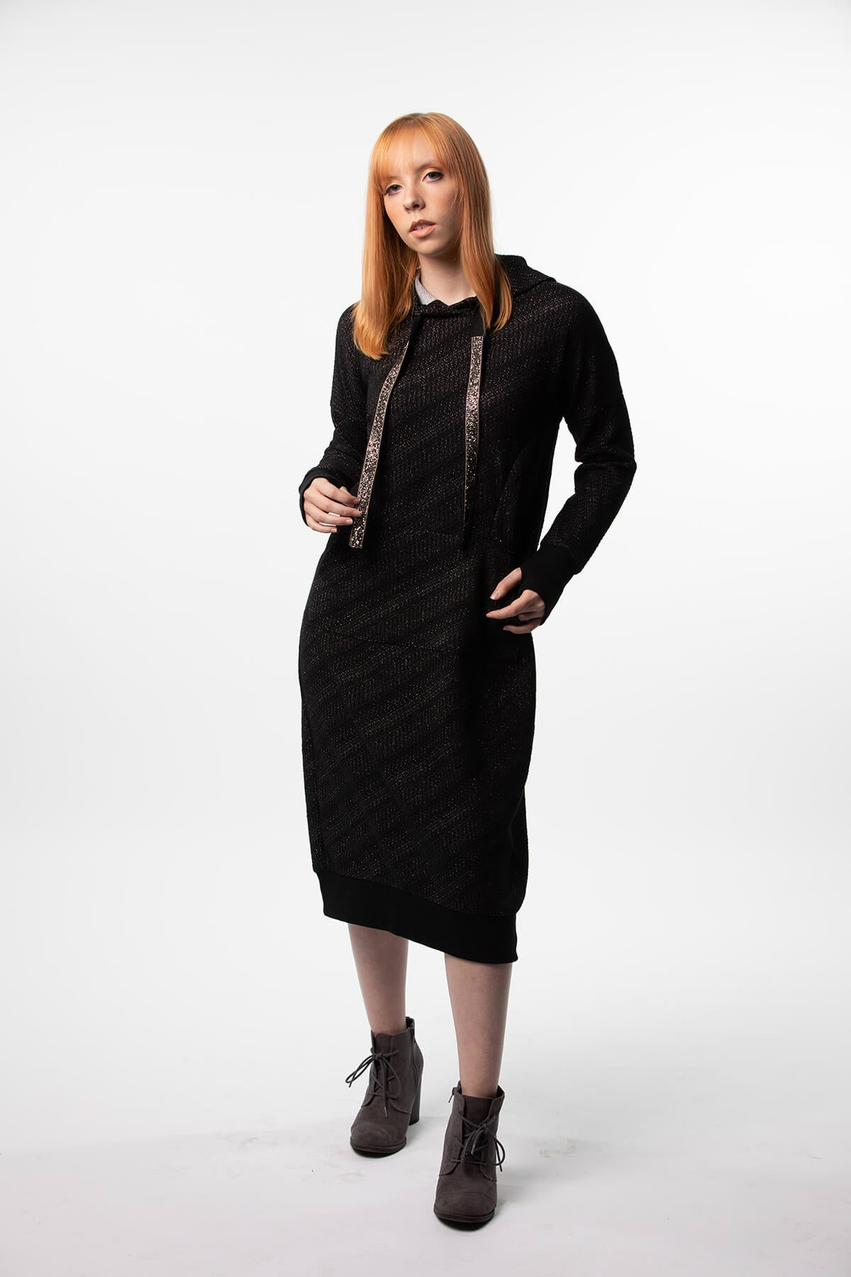 Sweatshirt dress with Rhinestone Drawstrings  in black, black and silver, and speckled grey