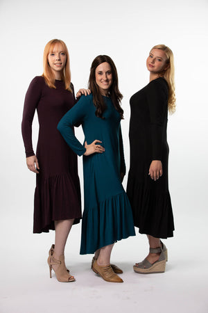 High low Dress in Eggplant, Teal and Black Ribbed