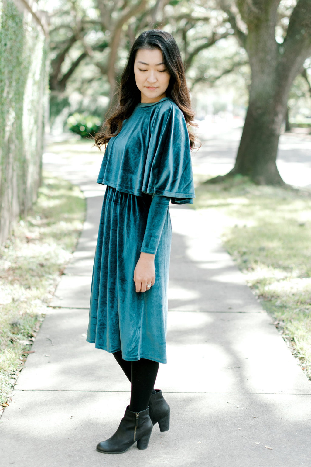 Havah Velvet Cape- Nursing Friendly Dress in Teal