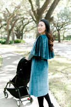 HavahWinter Velvet Cape- Nursing Friendly Dress in Teal