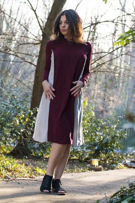 Havah Drape Dress in Wine and Cement -  Eco-friendly, Sustainable, Nursing Friendly