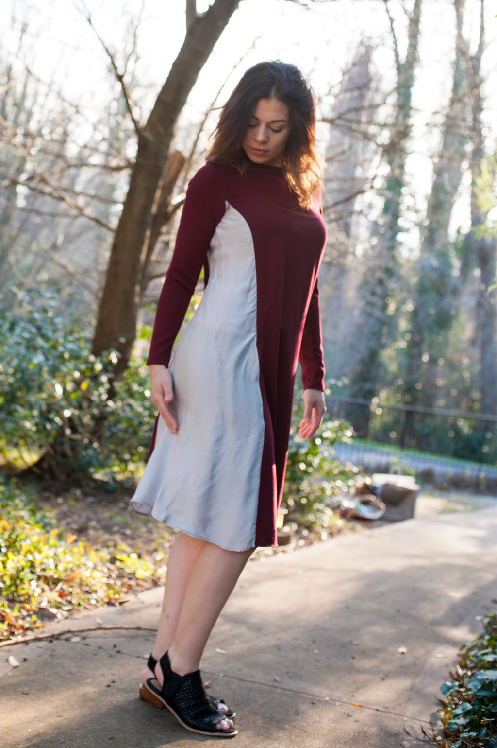Drape Dress in Wine and Cement