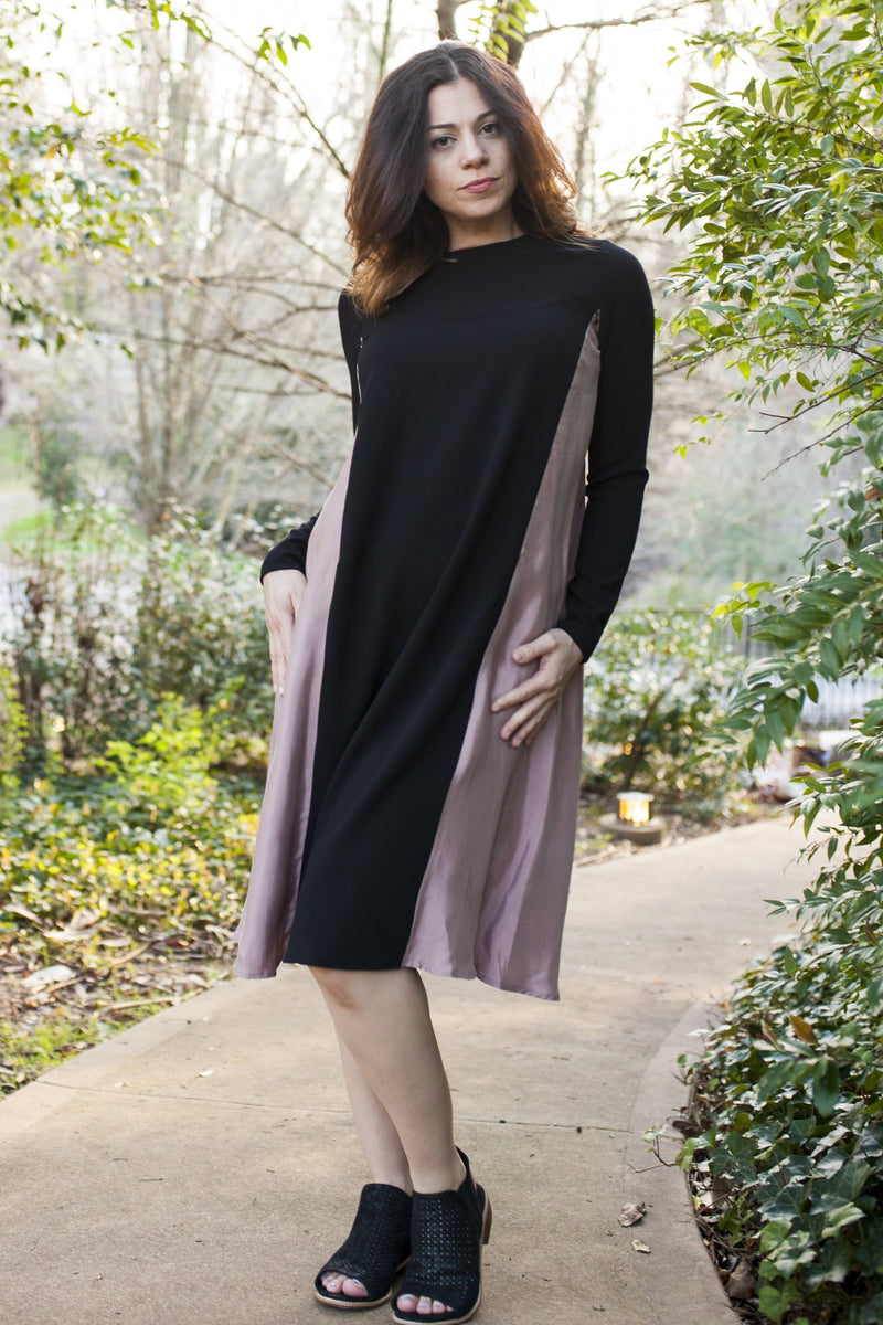 Havah Drape Dress in Black and Dusty Rose -Eco-friendly Nursing Friendly Dress
