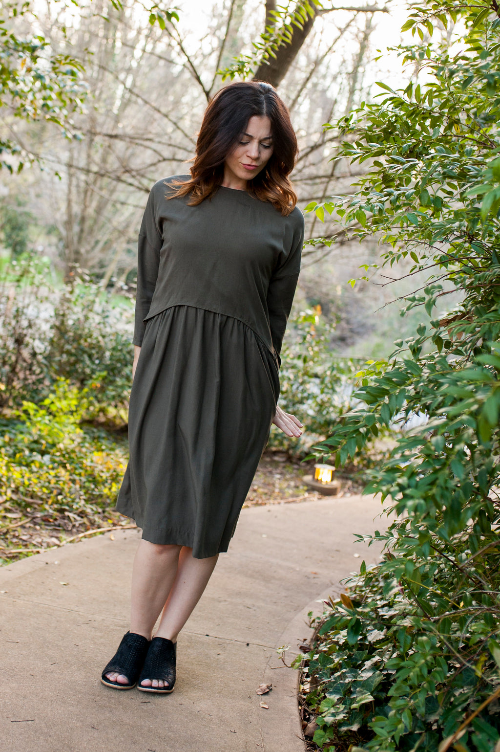 FINAL SALE Havah Blaze in Olive Tencel - Nursing Friendly,  Eco-Friendly