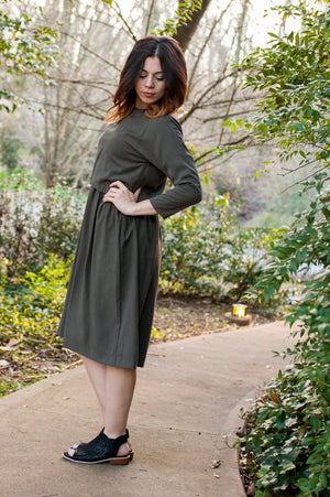 Havah Blaze- Nursing Friendl -Eco-Friendly - in Olive Tencel